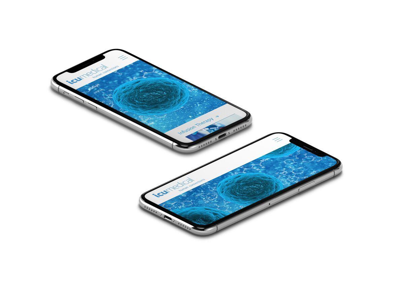 2 iphones showinf icu medical website