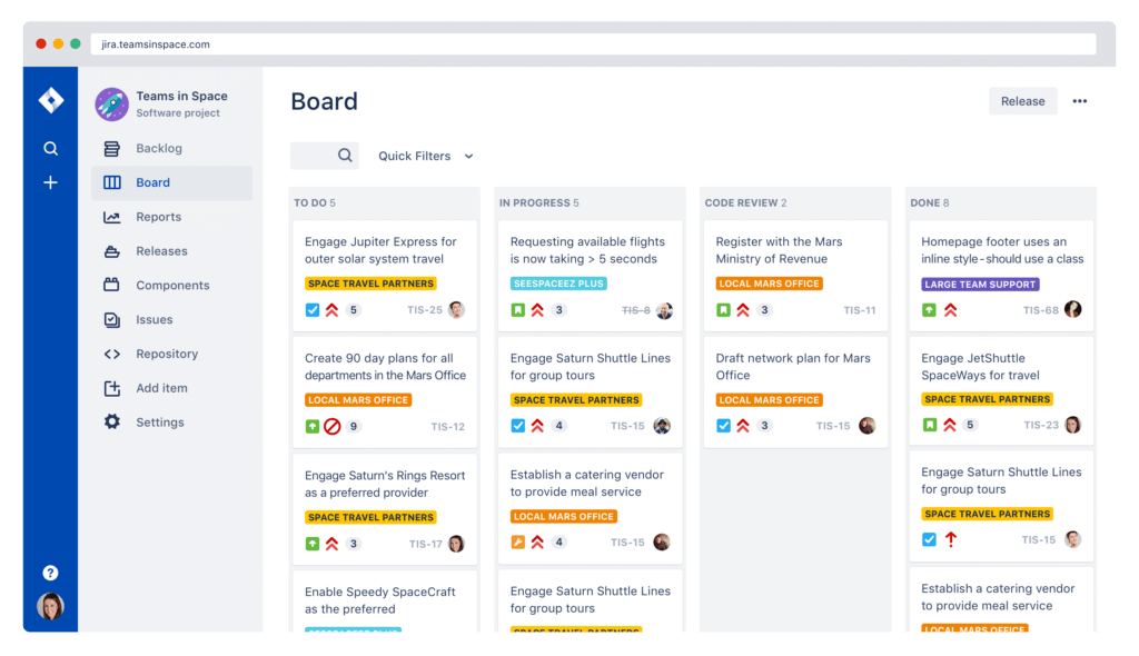 We also use Jira on Scrum projects to manage the incoming work load. Here is an example of a Scrum board.