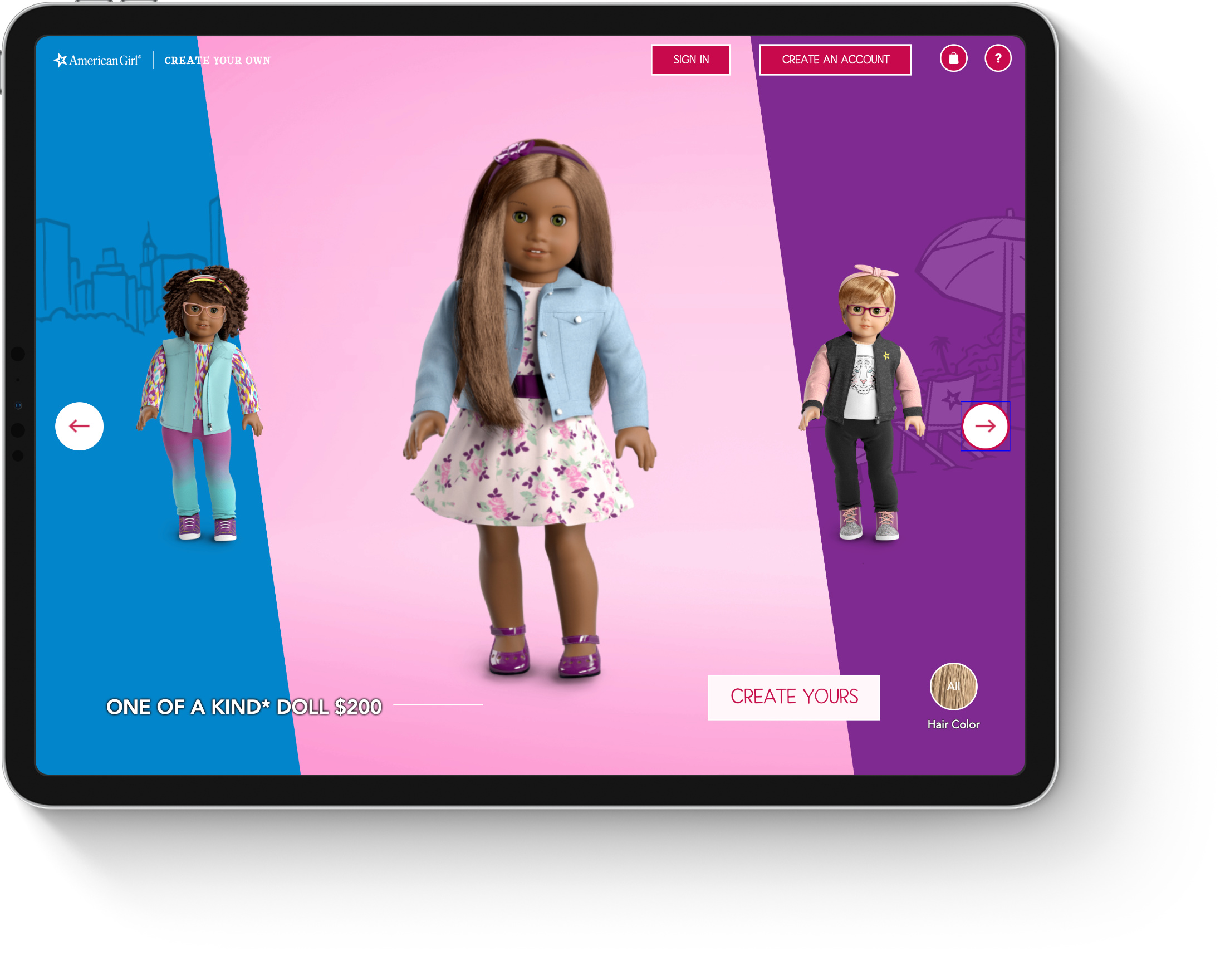 Tablet displaying landing page of American girl create and customize a doll login page
