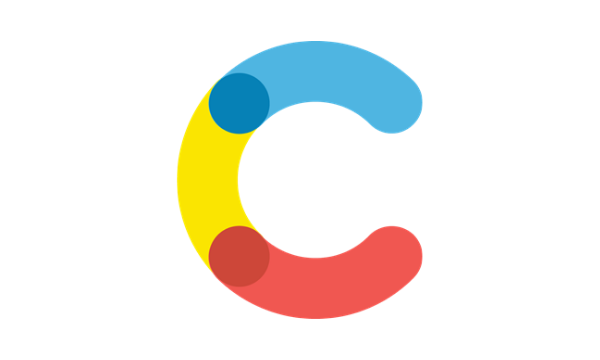 Tri-colored letter C in blue, yellow and red on transparent background